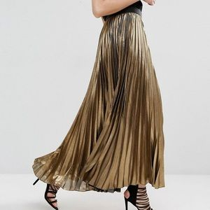 BCBG Max Azria Dallin Maxi Skirt in Gold Metallic